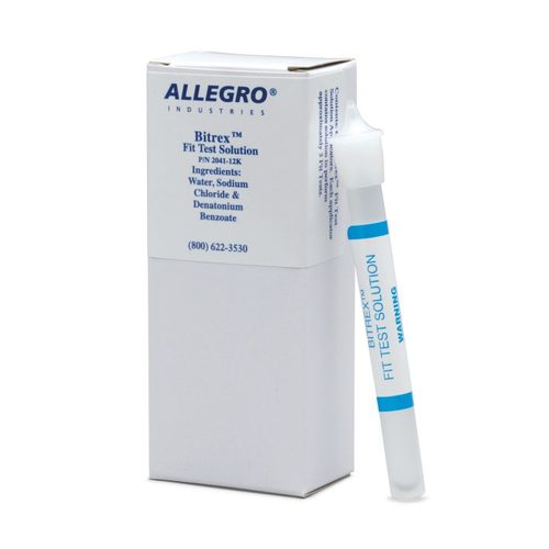 Allegro® 2041-11K Bitrex Sensitivity Solution, 2.5 mL Capacity, Bitrex Fit Test Protocol, 6 Pieces, Clear