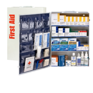 Mallory 3-ShelfFirst Aid Cabinet, Wall Mount, 676 Components, Steel Case, 16 in H x 5-1/2 in W