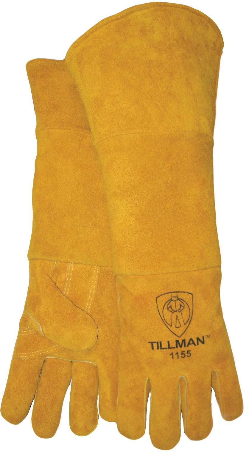 Tillman™ 1100-L Premium Grade Stick Welding Gloves, L, Side Split Cowhide Leather, Blue, Cotton, 14 in L
