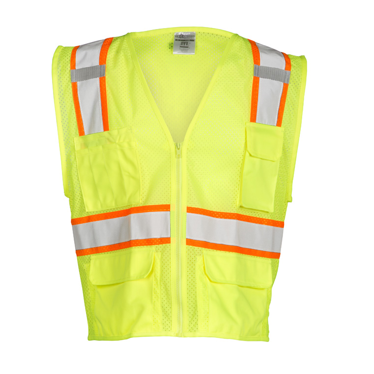 ML Kishigo 1195 All Mesh Contrast Class 2 Safety Vest, 4X-Large, Lime, McMillen Custom