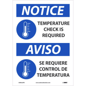 NMC™ ESN519PB Notice All Drivers Please Remain In Loading Dock Area Sign, 14 in HT X 10 in WD, Pressure Sensitive Vinyl, Blue/White/Black, English/Spanish