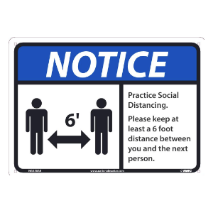 NMC™ N521RB Social Distancing Floor Pandemic Sign, 10 in HT X 14 in WD, Rigid Plastic, Blue/Black/White, English