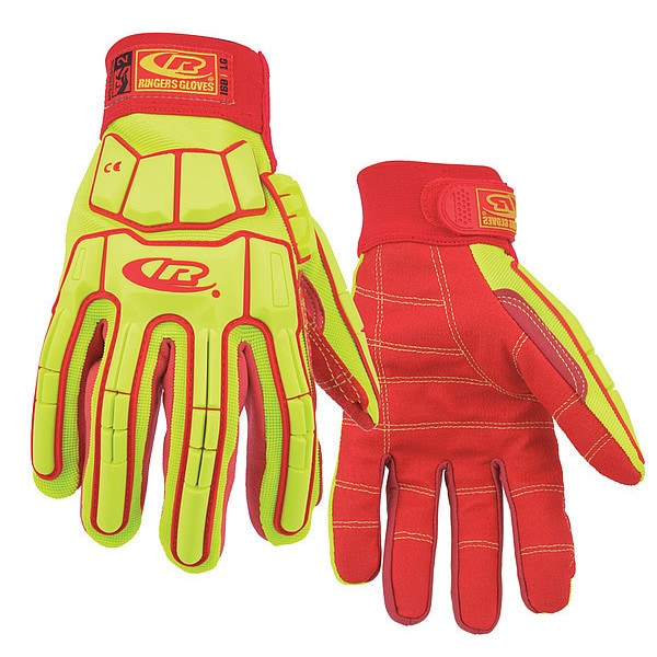 Ringers® 168-10 168 Super Hero Cut-Resistant Gloves, Large (SZ 10), Kevlar® Stitching, Nylon Mesh Back/TPR Rubber, Red/Orange, Safety Cuff