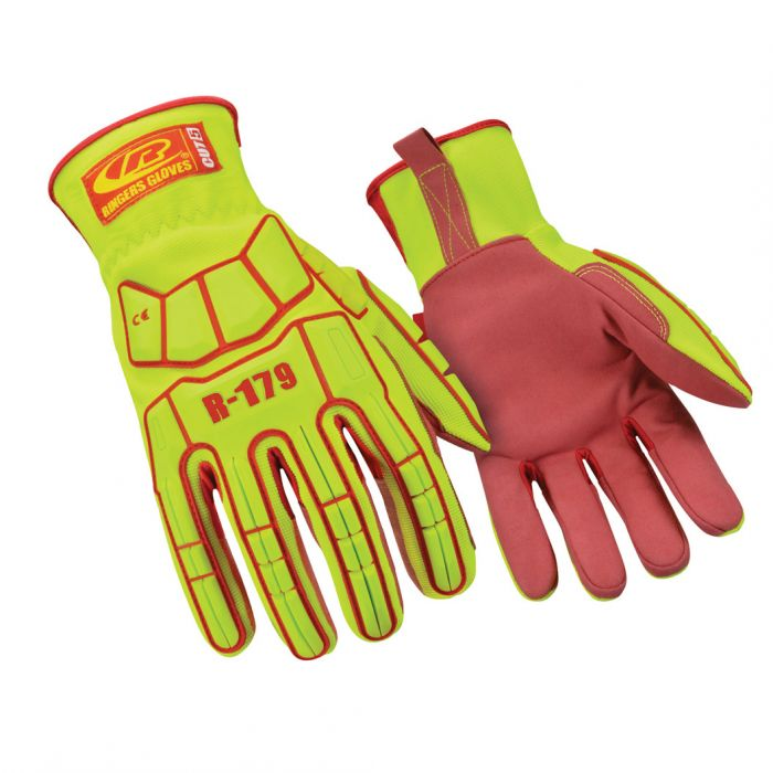 Ringers® 179-10 179 Super Hero Cut-Resistant Gloves, Large (SZ 10), Synthetic Leather, Hi-Visibility Yellow/Red, Slip-On Elastic Cuff