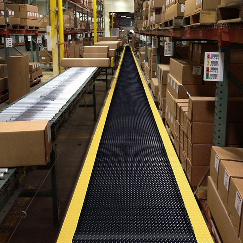 NoTrax® 419S0035BY Diamond Sof-Tred™ Rectangle Anti-Fatigue Floor Mat With Dyna-Shield®, 5 ft L x 3 ft W x 1/2 in THK, Closed Cell PVC Sponge, Diamond Plate Surface Pattern, Resists: Abrasion and Tear