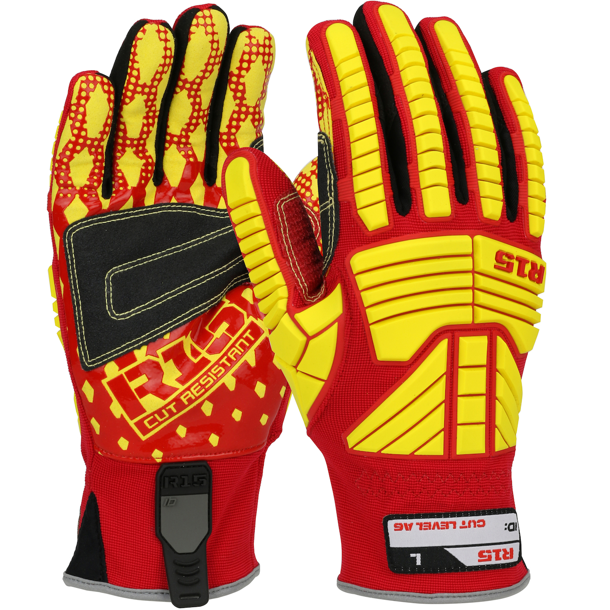 West Chester 87015/M 87015 R15™ Rigger Gloves, Medium, Synthetic Leather, Red/Yellow, Band Top Cuff