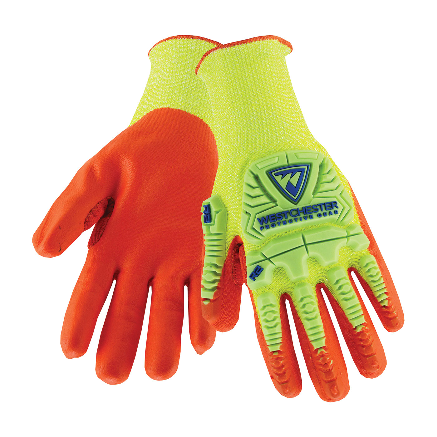 West Chester HVY710HSNFB 2X HVY710HSNFB R2™ High-Visibility Seamless Knit HPPE Blended Gloves, 2X-Large, HPPE, High-Visibility Yellow/Orange, Rib Knit Cuff